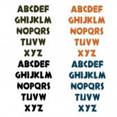 Set of cartoon adventure wooden font — Stock Vector