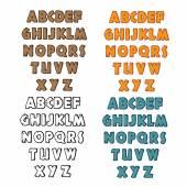 Set of cartoon adventure wooden font — Vector de stock