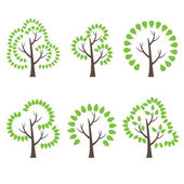 Set of illustration abstract trees. Vector — 图库矢量图片