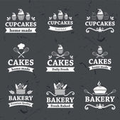 Vintage retro bakery labels on chalkboard  — Stock Vector