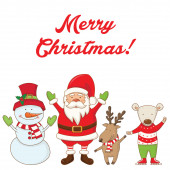 Christmas characters and the words Merry Christmas .Vector — Stock Vector
