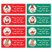 Christmas characters and labels words Merry Christmas .Vector — Stockvector
