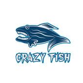 Crazy fish cartoon mascot vector design template — Vector de stock