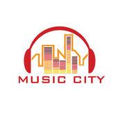 Music city concept vector design template — Stock Vector