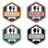 Abstract vintage label with text roadside cafe — Stock Vector