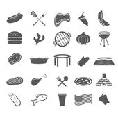 Bbq and fast food web icons set flat design — Stock Vector