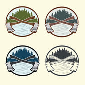 Set of vintage lumberjack labels and design elements — Stock Vector