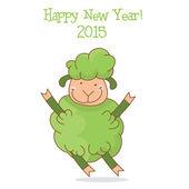 Illustration of funny green sheep, symbol 2015 year. Vector — Stock Vector