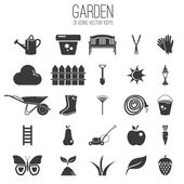 Illustration set icon of garden. Vector — Vector de stock