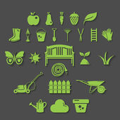 Illustration set icon of garden. Vector — Stock Vector