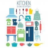 Illustration set icon of kitchen. Vector — Stock Vector