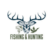 Vintage hunting and fishing vector design template — Stock Vector
