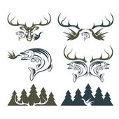 Set of vintage hunting and fishing labels and design elements — Stock Vector
