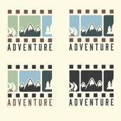 Adventure film tape vintage set — Stock Vector