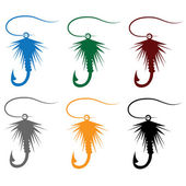 Set of Fly fishing lure — Stockvektor