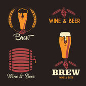 Wine and beer vintage labels set — Stock Vector
