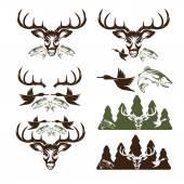 Conjunto de vendimia caza y pesca etiquetas y elementos de diseño — Vector de stock