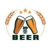 Beer emblem vector design template — Stock Vector