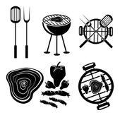Barbekü izgara vektör etiketler koleksiyonu — Stok Vektör