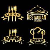 金色的餐厅和菜单元素设置 — 图库矢量图片