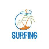 Surfing vector design template — Stock Vector