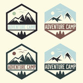 Set of vintage labels adventure camp — Stock Vector