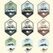 Set of vintage fishing camp labels with salmon and bear — Stock Vector