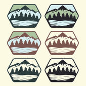 Set of vintage labels with lake,mountains and pines — Stock Vector