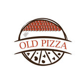 Illustration of old label pizza,with shingles .Vector — Stock Vector