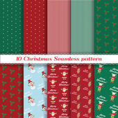 Set of Christmas seamless pattern. vector — Stock Vector