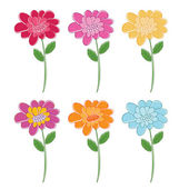 Illustration set of beautiful colour flowers. Vector — Stock Vector