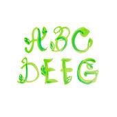 Handwritten watercolor alphabet with leaves. Vector — Stock Vector