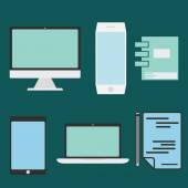 Flat design office elements and computer ,tablet, laptop and sma — Vector de stock