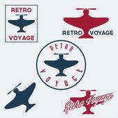 Conjunto de placas de vuelo aeronáutica retro vintage y etiquetas — Vector de stock
