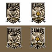 Eagles air warrriors army shields set vector design template — Stock Vector