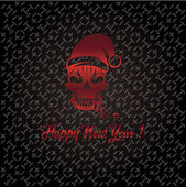 Skull with a cracker in his mouth and a Santa Claus hat — Stock Vector
