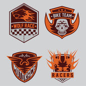 Auto and moto racing emblem set and design elements — Stock Vector
