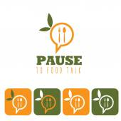 Pause to food talk concept and icon set  — Stock Vector