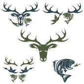 Conjunto de vintage caça e pesca rótulos e elementos de design — Vetorial Stock