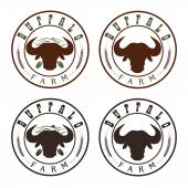 Buffalo farm vintage labels set — Stock Vector