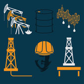 Oil industry elements and symbol of fall and rise of oil prices — Stock Vector