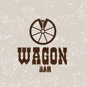 Wagon western bar grunge concept vector design template — Stock Vector