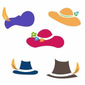 Illustration sets of hats. Vector — Stok Vektör