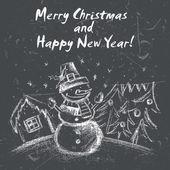 Zimowy krajobraz rękę wyciągnąć z Christmas motywy. Wektor ilustr — Wektor stockowy