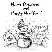 Winter landscape hand draw  with Christmas motifs.Vector illustr — Stock Vector