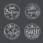 Collection of vintage retro hand draw bakery labels .Vector — Stock Vector