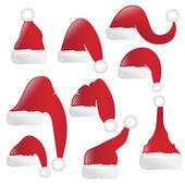 Set di cappelli rossi santa. vector — Vettoriale Stock