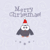 Illustration christmas with owl. Vector — Stock Vector