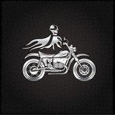 Silver skull in helmet on bike with flames concept vector design — Stock Vector