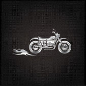 Vintage  silver motorcycle with flames graphic vector design tem — Stock Vector